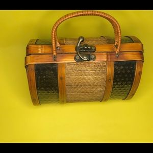 Vintage wooden small purse bag